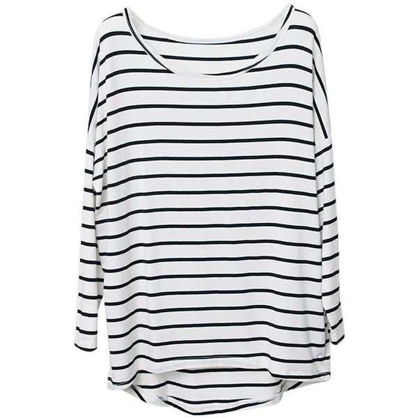 Choies Black Stripe T-shirt With Raglan sleeve (19.060 CLP) ❤ liked on Polyvore featuring tops, t-shirts, shirts, striped, white, t shirts, white tee, white stripes t shirt, raglan tee and striped shirt