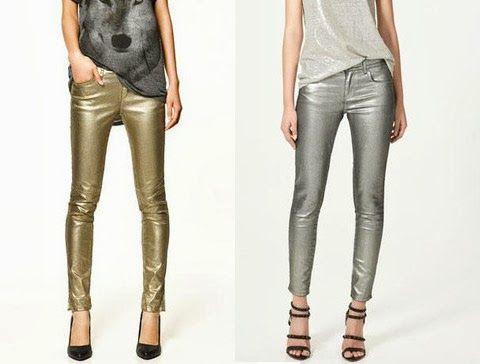 Pantalones Dorados Plateados Moda Ropa Pantalones Moda