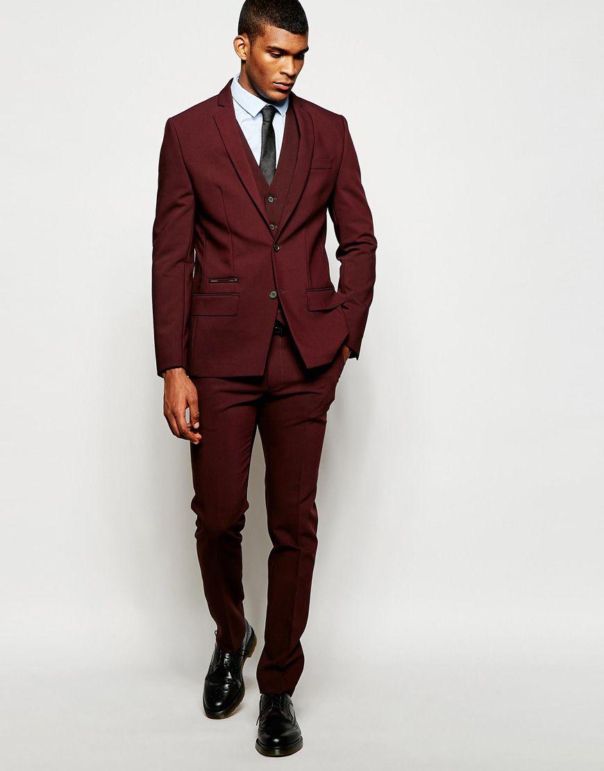 Shop River Island Skinny Fit Suit in Burgundy at ASOS.