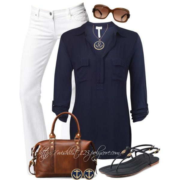 this is it simple but cute navy blue shirt love white pants cute shoes love them bag little and cute and shades of course i like it