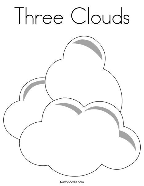 Three Clouds Coloring Page Twisty Noodle Images Pinterest