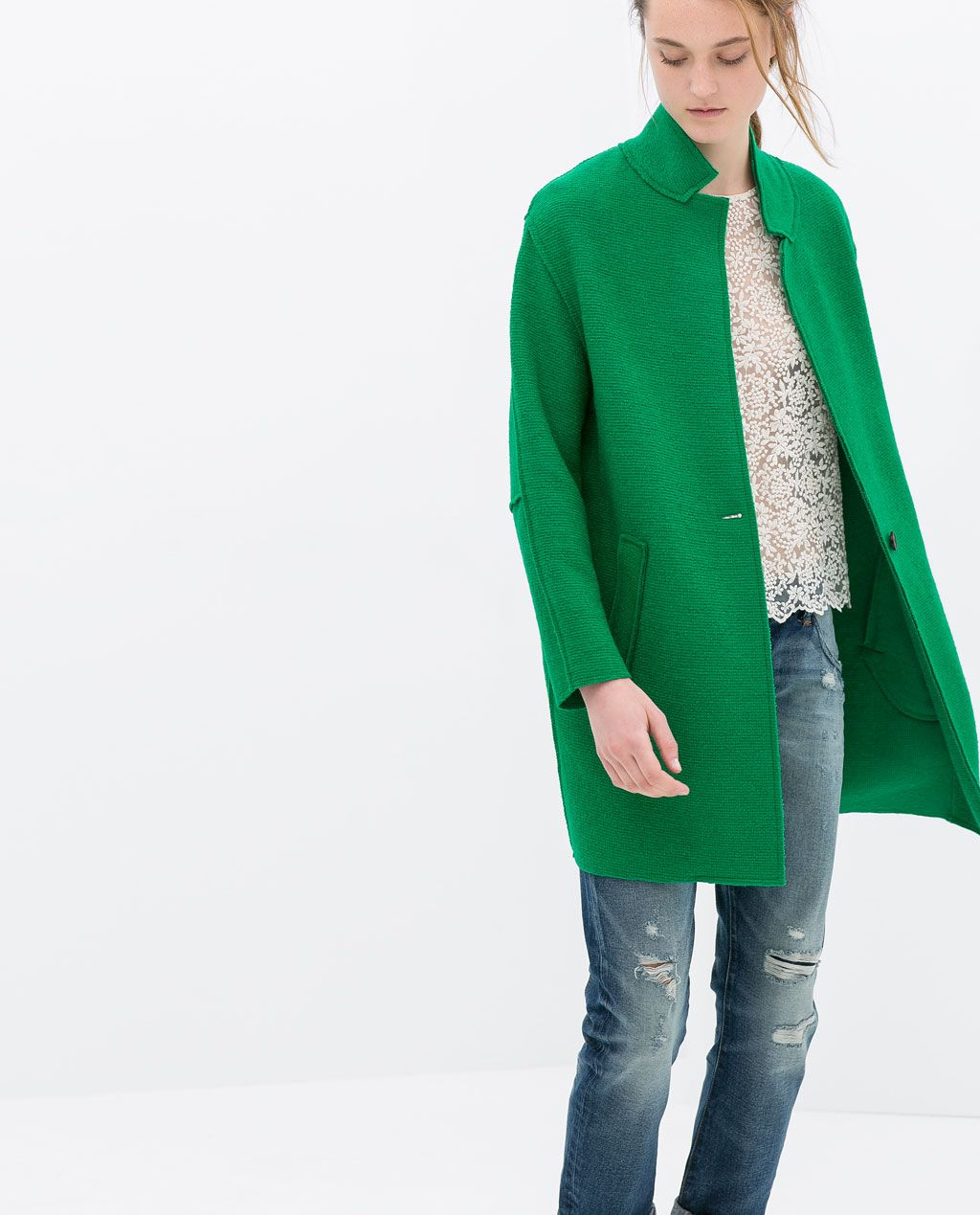Wool Coat From Zara In The Most Perfect Shade Of Kelly Green Wollen Jas Jas Kleding