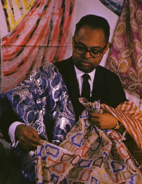 (shown here my dear and beloved friend African American fashion designer J. Wesley Tann 1928 ~ 2012) :: article also shows a lot of interesting textiles...
