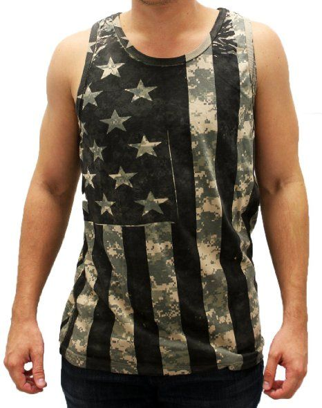 Amazon.com: Men's Digital Camo Tank with American Flag Print: Clothing