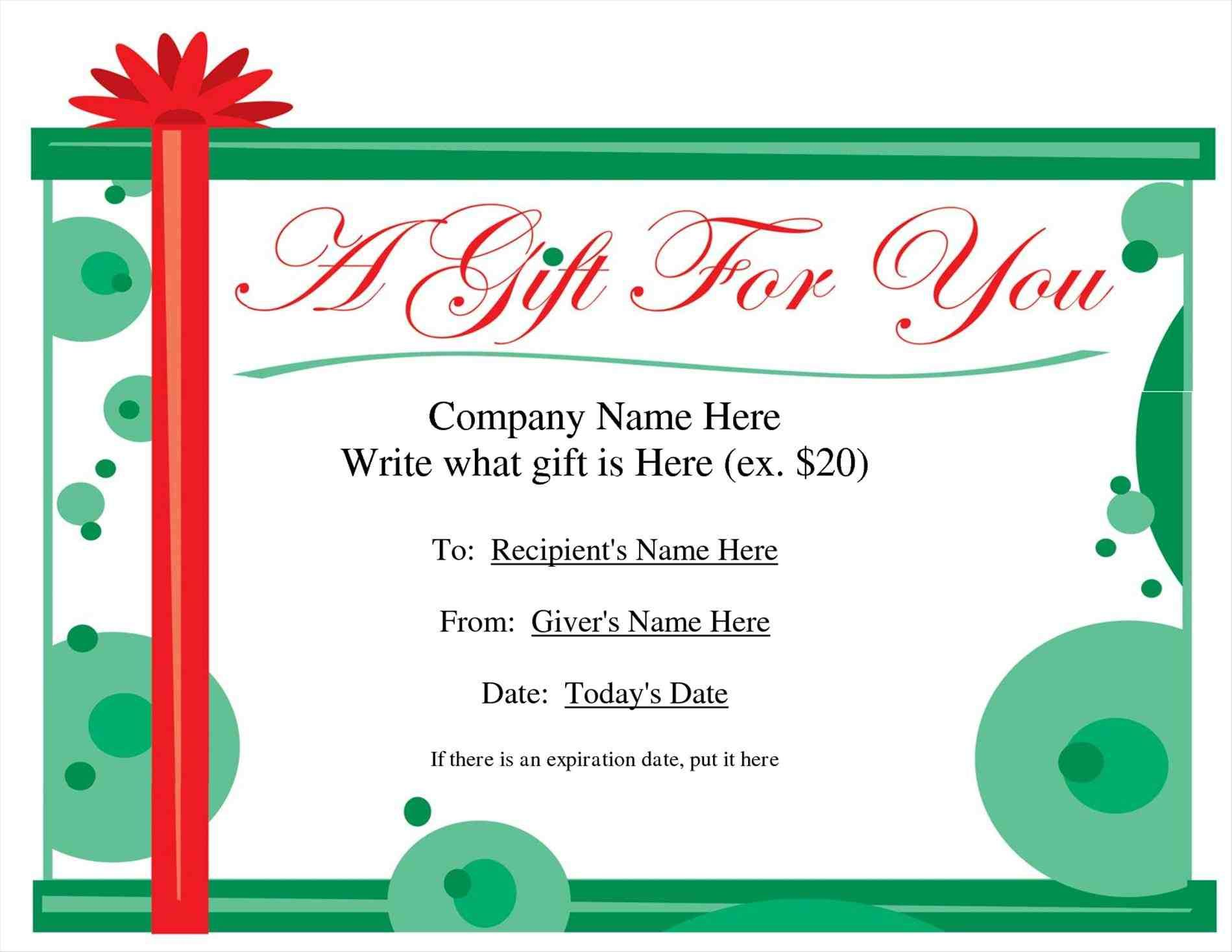 gift writing template