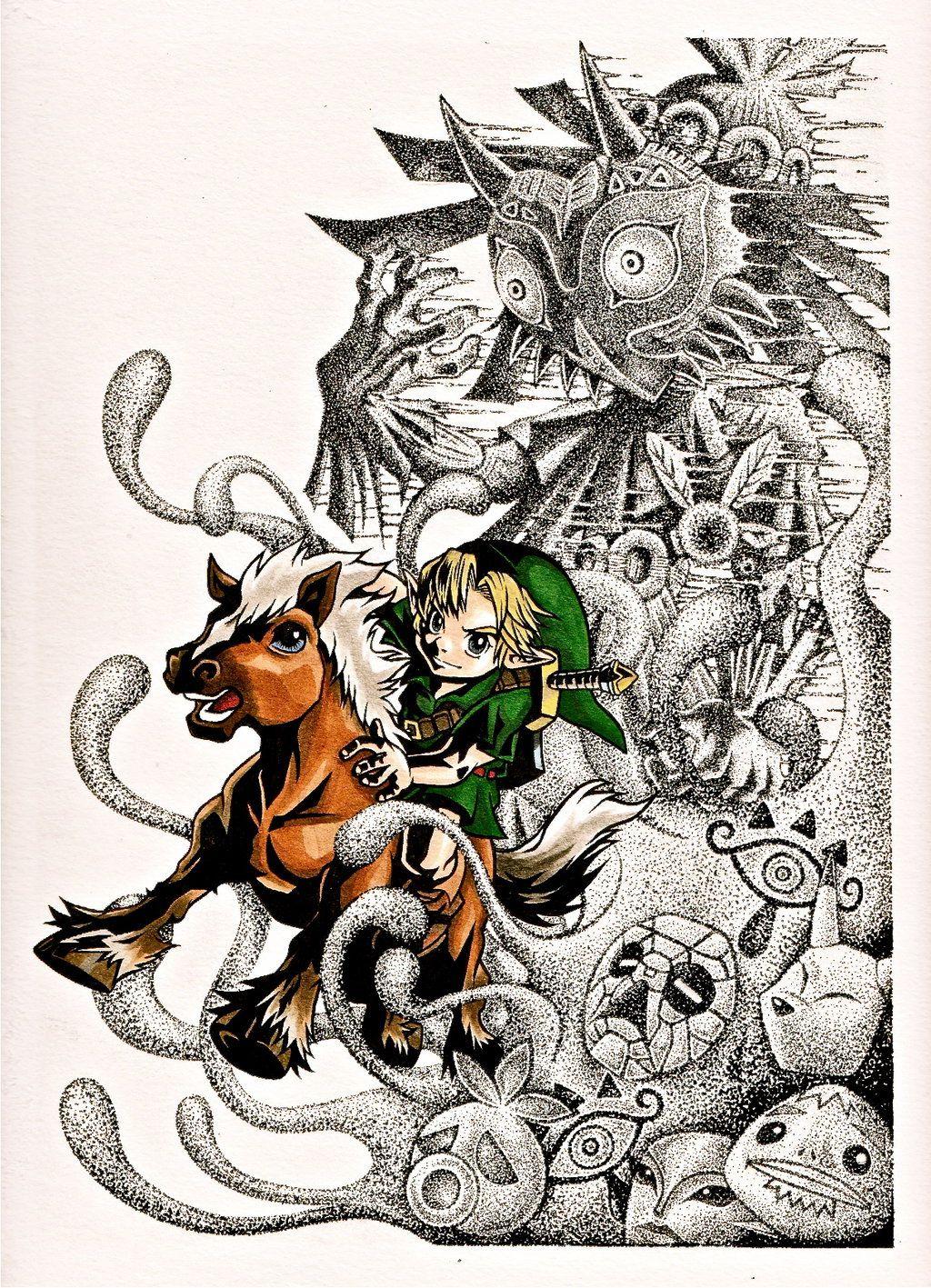 Majora's Mask Drawing : majora's, drawing, Legend, Zelda, Majora's, Finished, Drawing, Yuririn1219.deviantart.com, #Majora, Tattoo,, Zelda,, Majoras