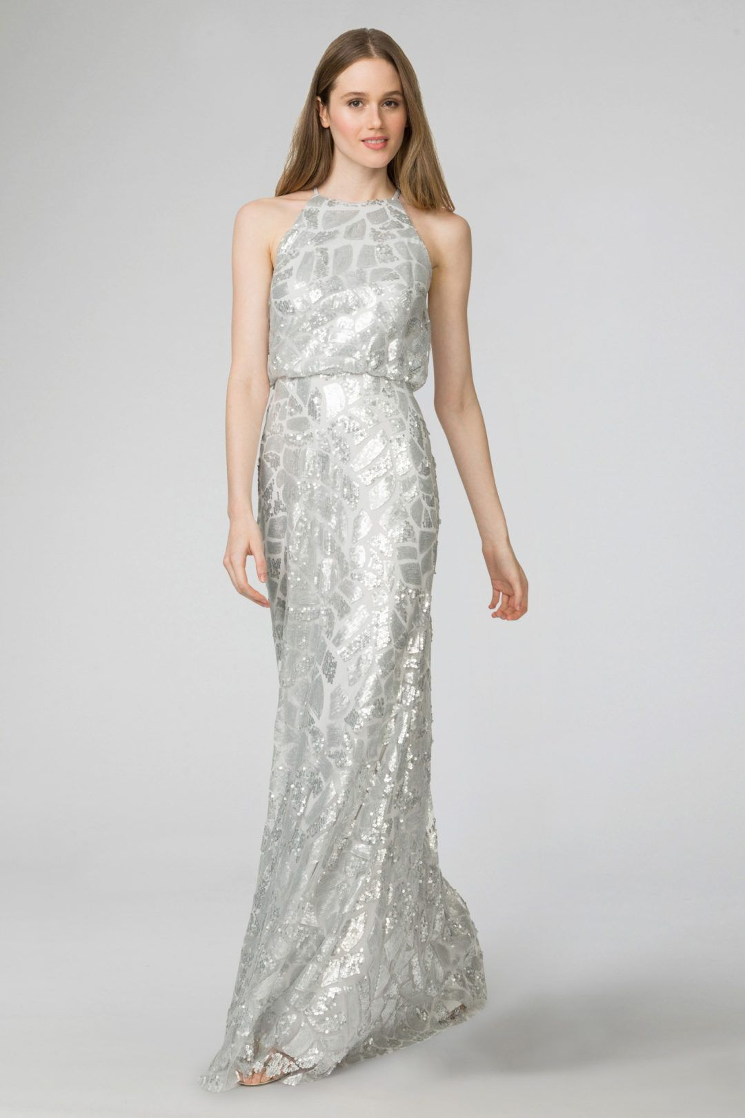 Sparkly Long Gown With Silver Beading
