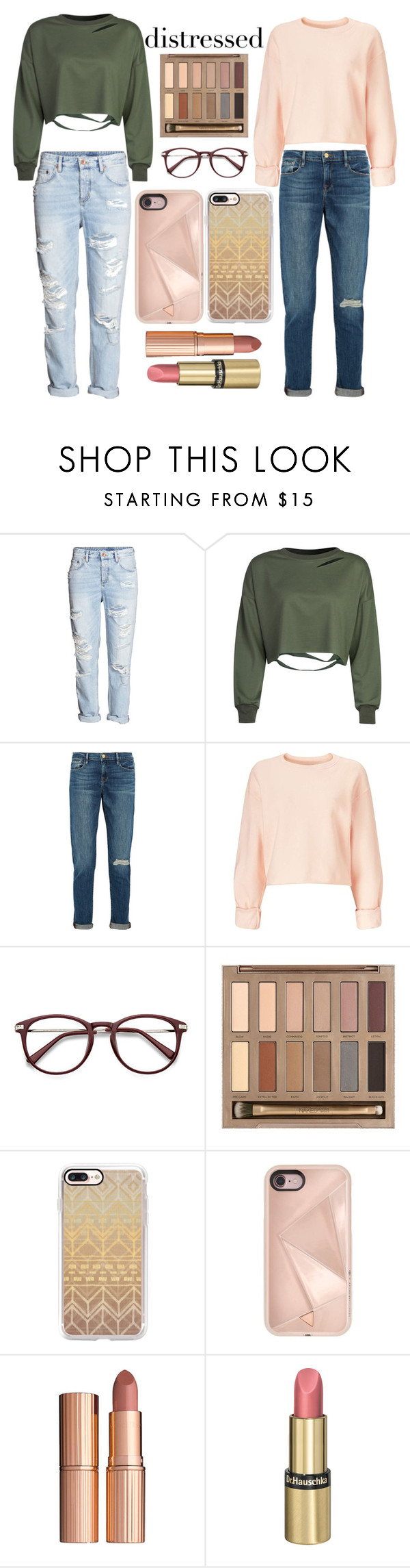"""""""Distressed Denim"""" by nettie56 ❤ liked on Polyvore featuring WithChic, Frame, Miss Selfridge, Urban Decay, Casetify, Rebecca Minkoff, Charlotte Tilbury and Dr.Hauschka"""