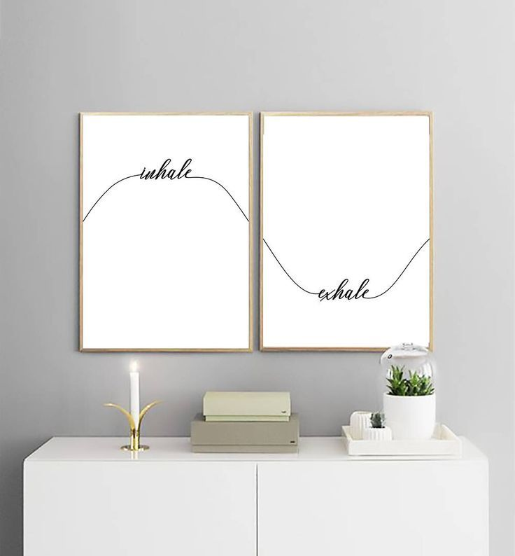 Inhale Exhale Print | Yoga Wall Decor | Calligraphy Wall Art | Set of Two Prints | Bedroom Decor | Wave Print | Printable Wall Art | -  - #inhaleexhale