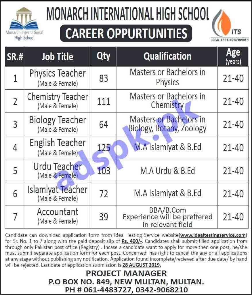 558 Teacher Jobs Monarch International High School Multan