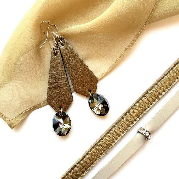 Geometric leather earrings/ geometric earrings/ by BUDUARTstyle