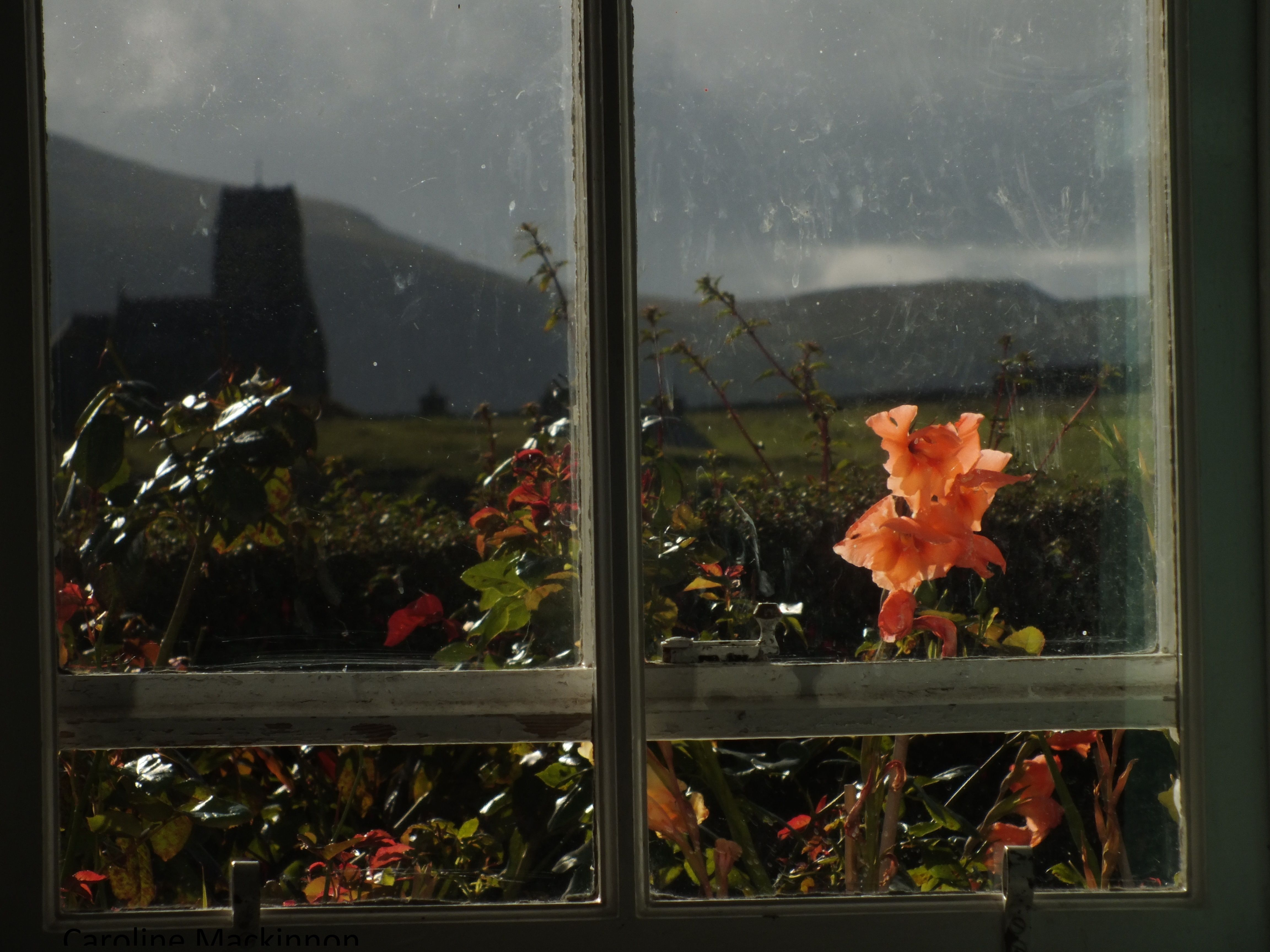 view from Nora's cottage. by her grand daughter. On the lovely island of Canna off the coast of Scotland next to Rhum.