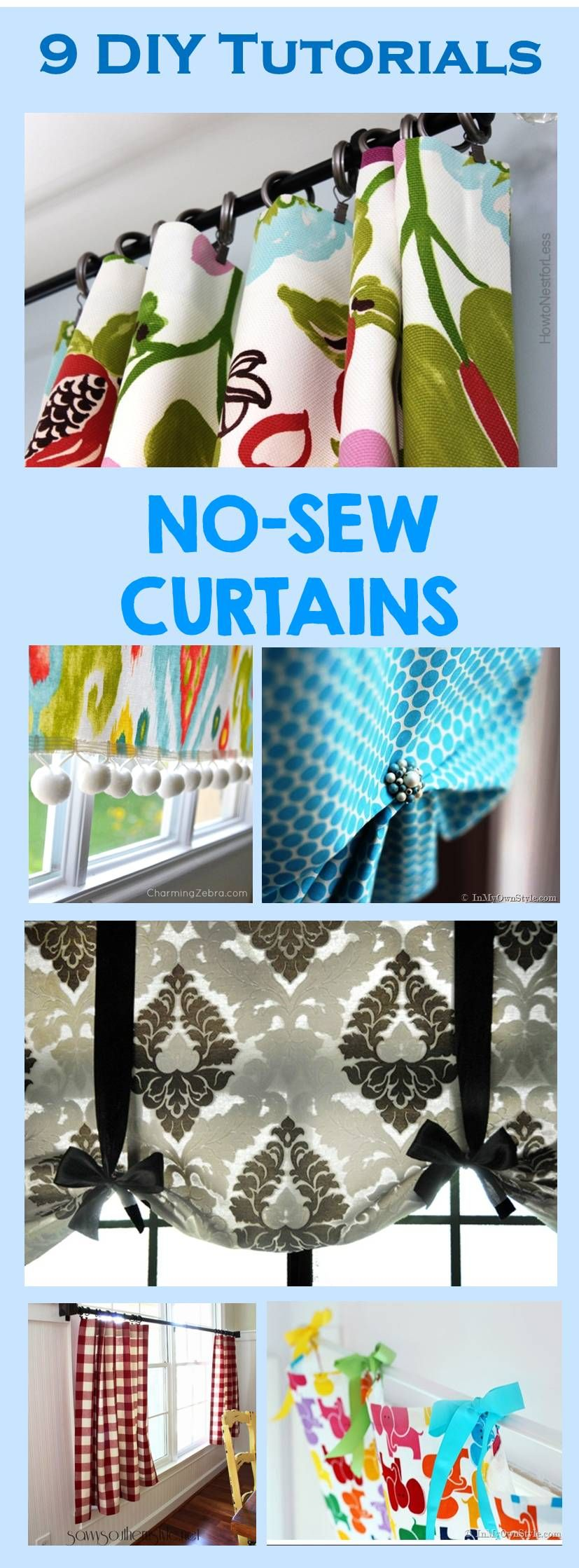 9 Simple Diy Tutorials How To Make No Sew Curtains