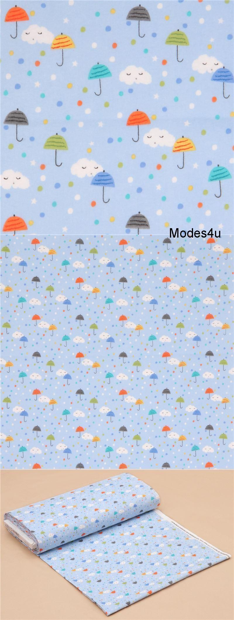light blue cute umbrella clouds dots Michael Miller flannel fabric from the USA #cuteumbrellas Michael Miller Flannel Fabric by Michael Miller Collection Happy Clouds OnFlannel Import from USA light blue flannel fabric with clouds, stars, colorful umbrellas and spots inwhite, orange etc. very high quality fabric, typical great Michael Miller quality radiant colours, many details and beautiful print 100% cotton soft flannel fabric size of the cloud: ca. 2.5cm (1) pattern repeat: ca. 15.8cm #cuteumbrellas