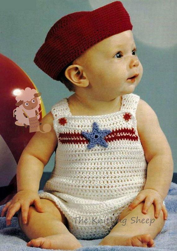 ca18b74158f2 Instant Download - PDF Crochet Pattern for Baby Sailor Suit ~ Sun Suit ~  Romper Set