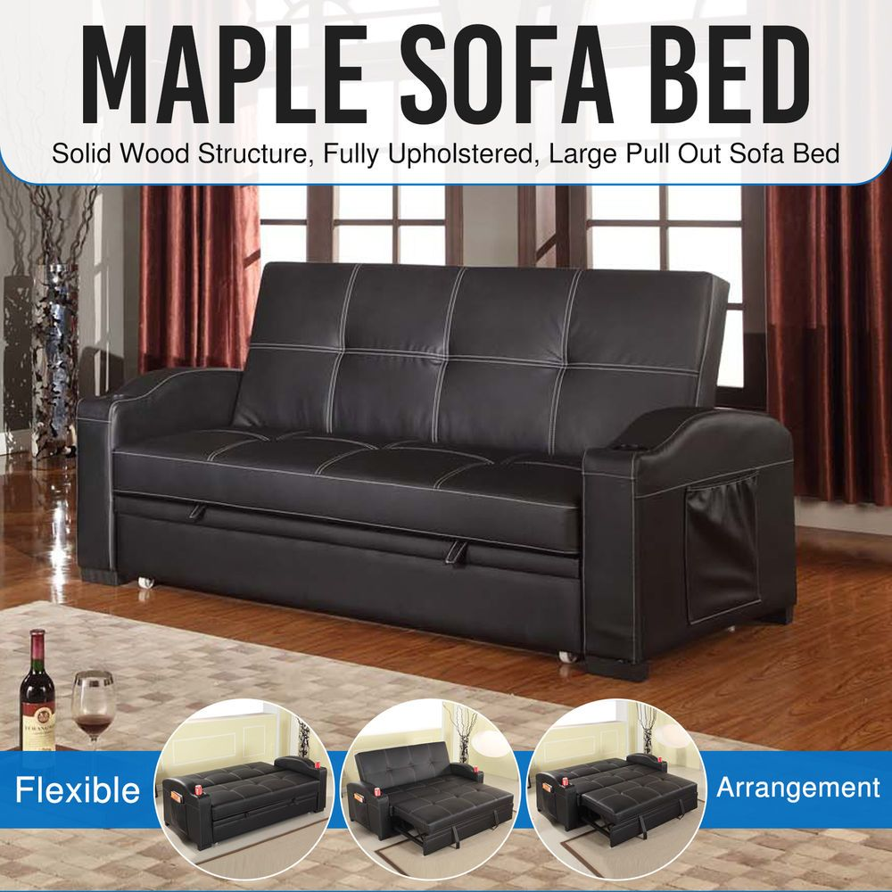 3 Seater Black Sofa Bed Cup Holders Modern High Density Foam