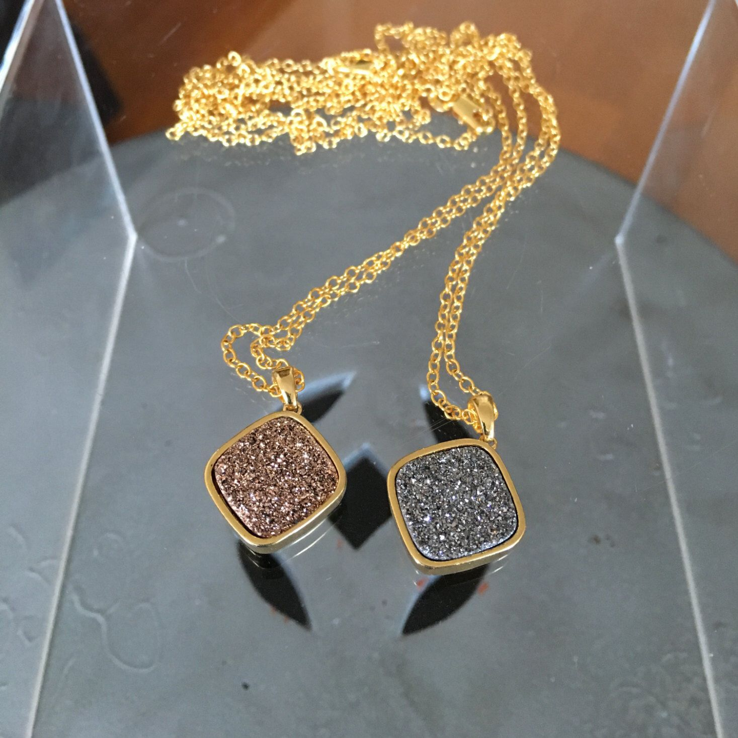 Druzy Necklace/Bezel Set Druzy/Square Druzy/Diamond Shape Druzy Necklace/Rose Druzy/Silver Druzy/Gold filled chain/ by LaDiiDaDiiDa on Etsy https://www.etsy.com/listing/272827834/druzy-necklacebezel-set-druzysquare