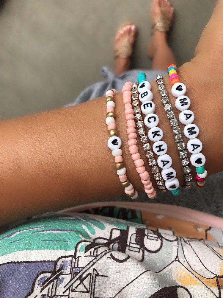 Beaded Bracelet Stack great pastel colours \u2022Blue \u2022Pink \u2022White \u2022Red \u2022Howlite