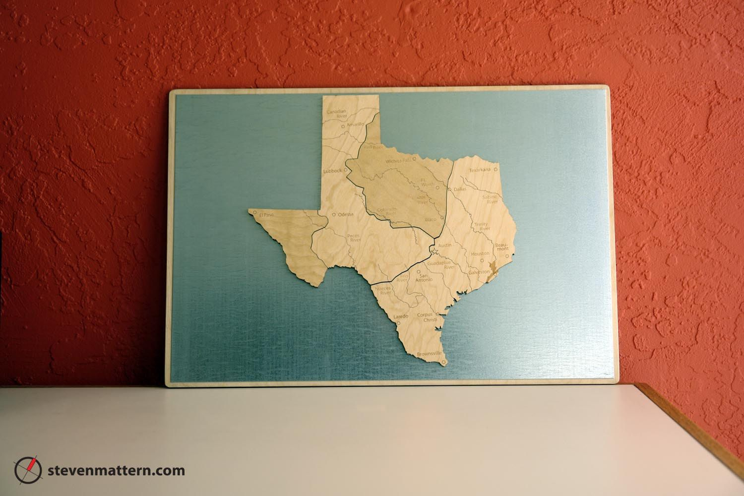 Houston Map Framed%0A Regions of Texas Map Puzzle  Birch Plywood