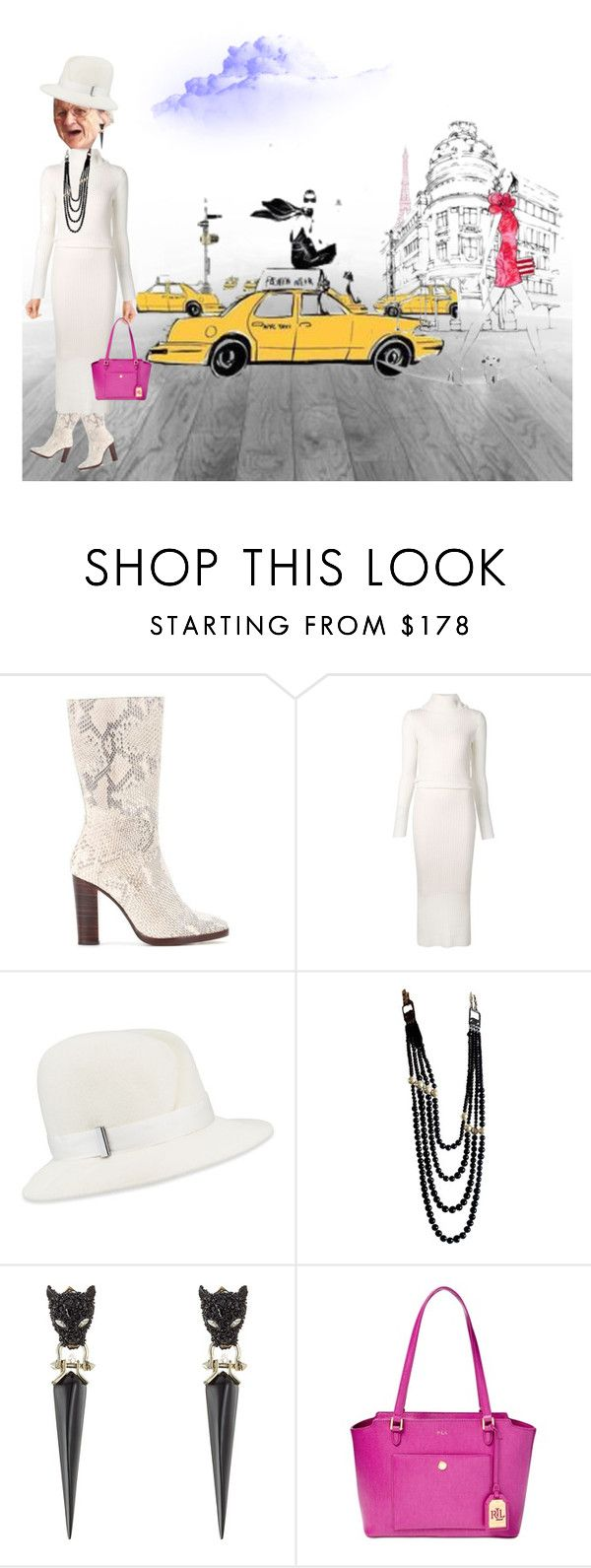 """""""Grandma Got A Spiffy New Outfit.."""" by marlenajo-b ❤ liked on Polyvore featuring Chloé, Alice + Olivia, Gigi Burris Millinery, Chanel, Alexis Bittar and Lauren Ralph Lauren"""