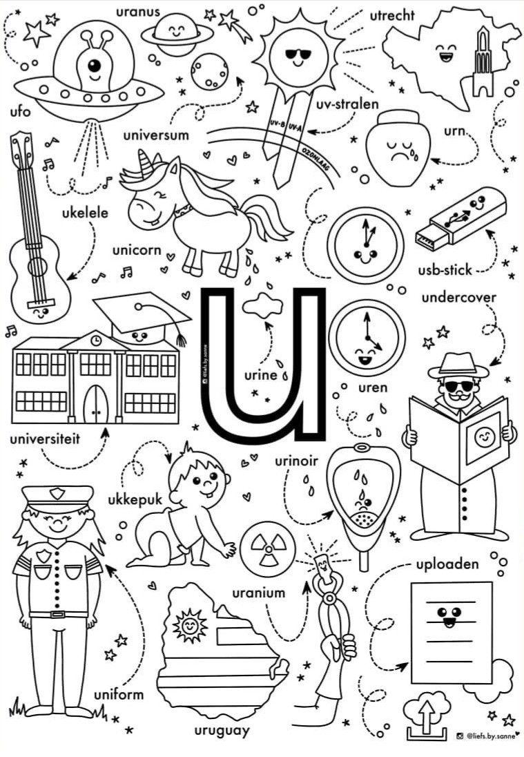 Letter U In 2020 Leren Lezen Alfabet Kleurplaten Lezen