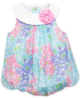 Baby Essentials Baby Girls' Floral-Print Bubble Romper