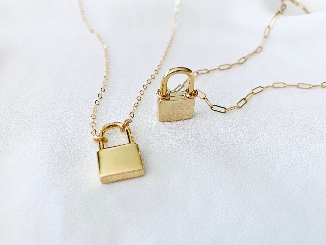 Dainty Padlock Necklace Gold Filled Paper Clip Chain Etsy Padlock Necklace Minimalist Necklace Gold Gold Necklace