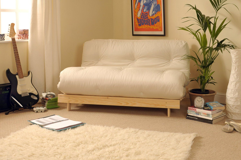 4ft Luxury Small Double 120cm Wooden Futon Set With Premium Cream Mattress Co Uk Kitchen Home