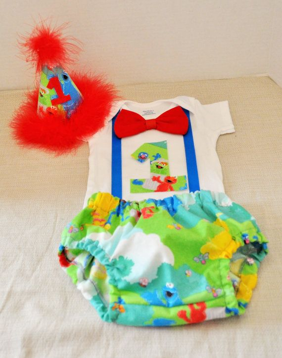 Rylo Sesame Street Cake Smash Outfit With Party Hat Birthday1st 2nd 3rd Birthday Elmo Big Bird Cookie Monster On Etsy 3800