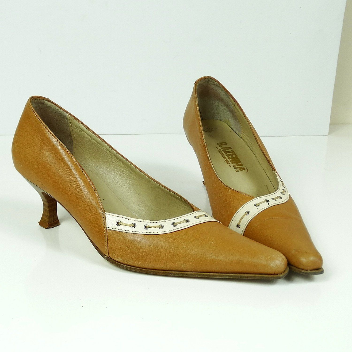 1950s Style 50s Shoes Size 35 Vintage Heels Leather Shoes Women Kitten Heel Pointed Toe 50s Pumps Beige Shoes Vintage Mode