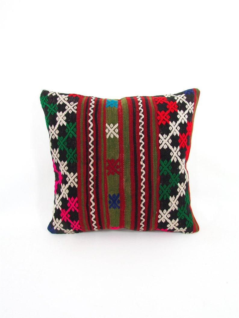 Boho pillow Turkish pillow Kilim cushion Kilim pillow cover Decorative pillow Kilim pillow Home design Wintage pillow Home living