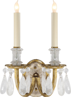 Elizabeth Rock Crystal Double Sconce With Images Visual Comfort Lighting Crystal Sconce