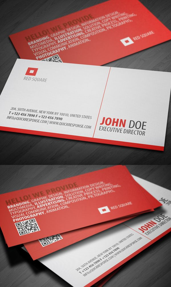 Red Square QR Business Card Design #businesscard #branding ...