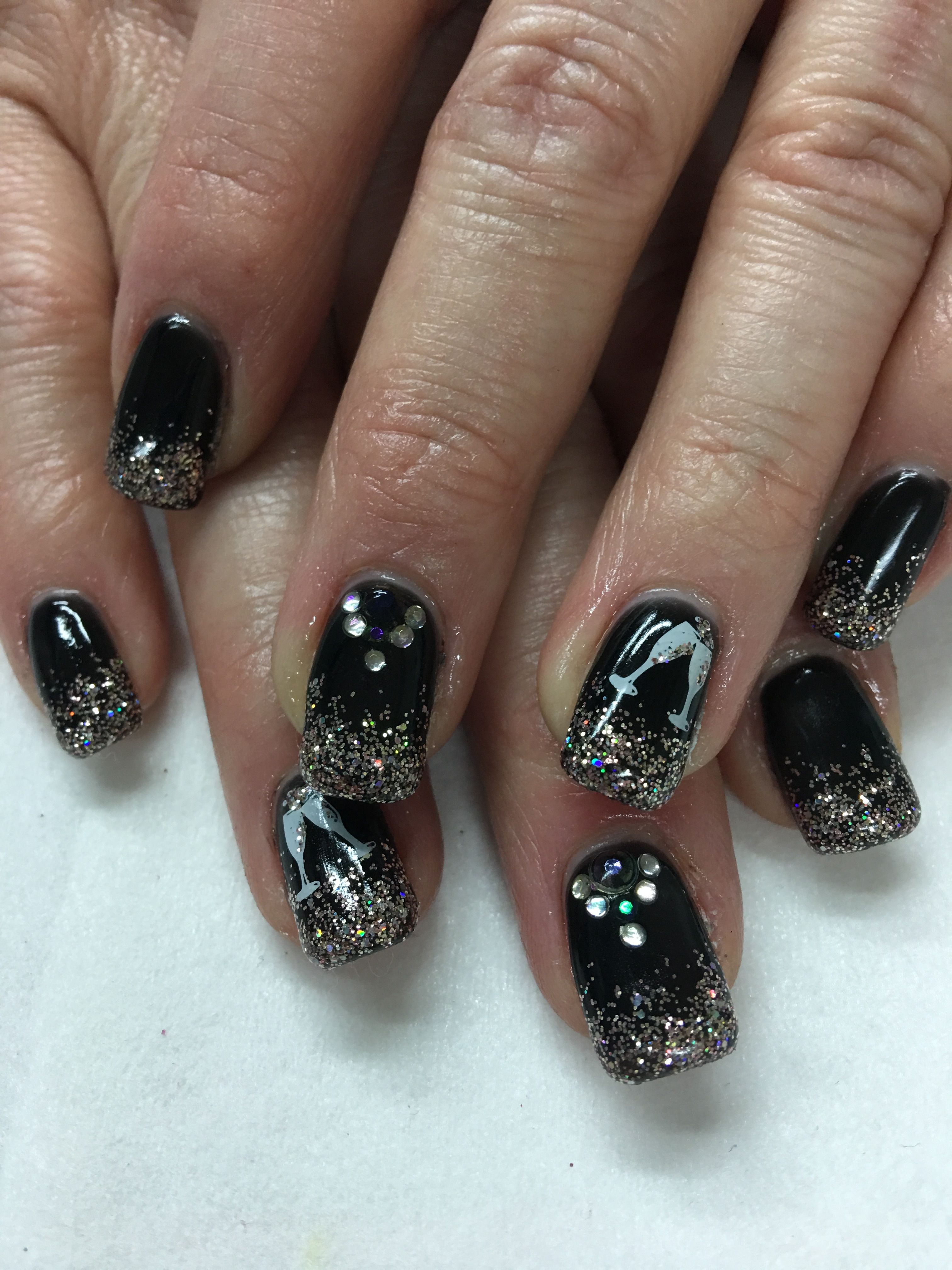 black & light elegance champagne glitter gel nails   gel nail