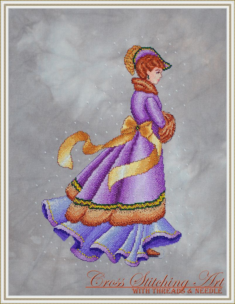 Winter Elegance is a beautiful victorian lady dressed in her finest skating outside on a snow day by Cross Stitching Art.