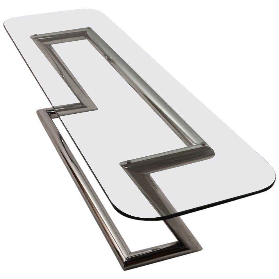 Tubular Chrome Base Plate Glass Top Cocktail Table [ 960 x 960 Pixel ]