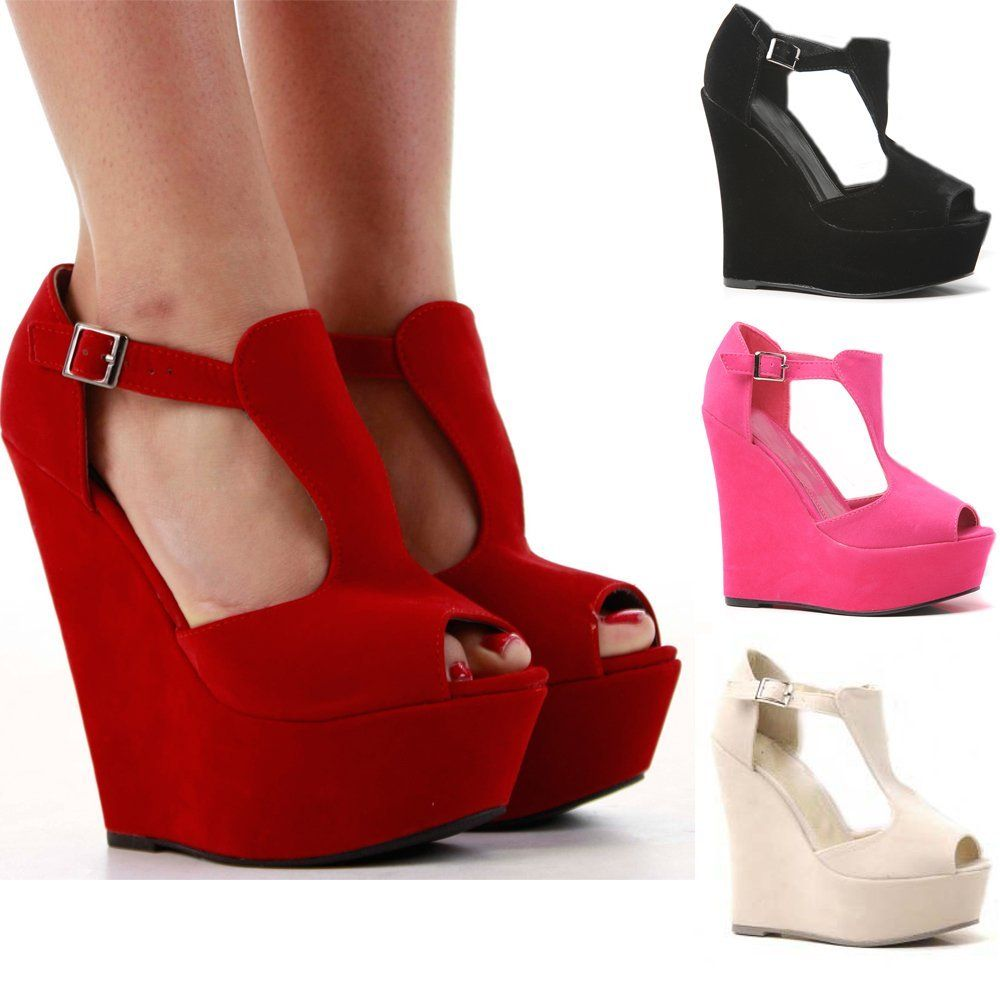high wedge shoes red - photo #7