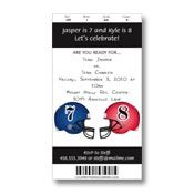 Football Ticket Invitations. Pick your team helmet color and number!