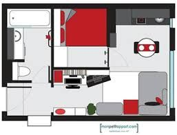 Image result for aménagement studio 12m2 | Loft/Studio Apartment ...
