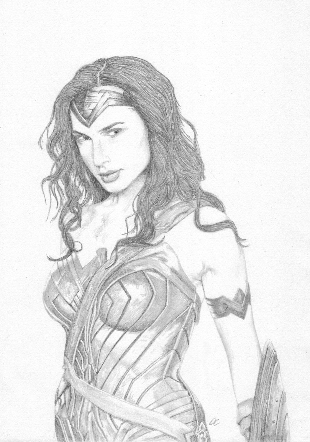 Wonder woman pencil drawing the justice league fan art print by iamdwaine on etsy