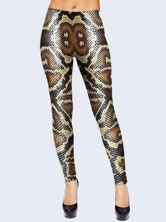 eeef39dad1028 Snake Leggings, Scale Leggings for Women, Printed Leggings, Brown Leggings, Leggings  Women, Cool Leg