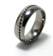 Mens Titanium Baseball Wedding Ring With Color Stitching