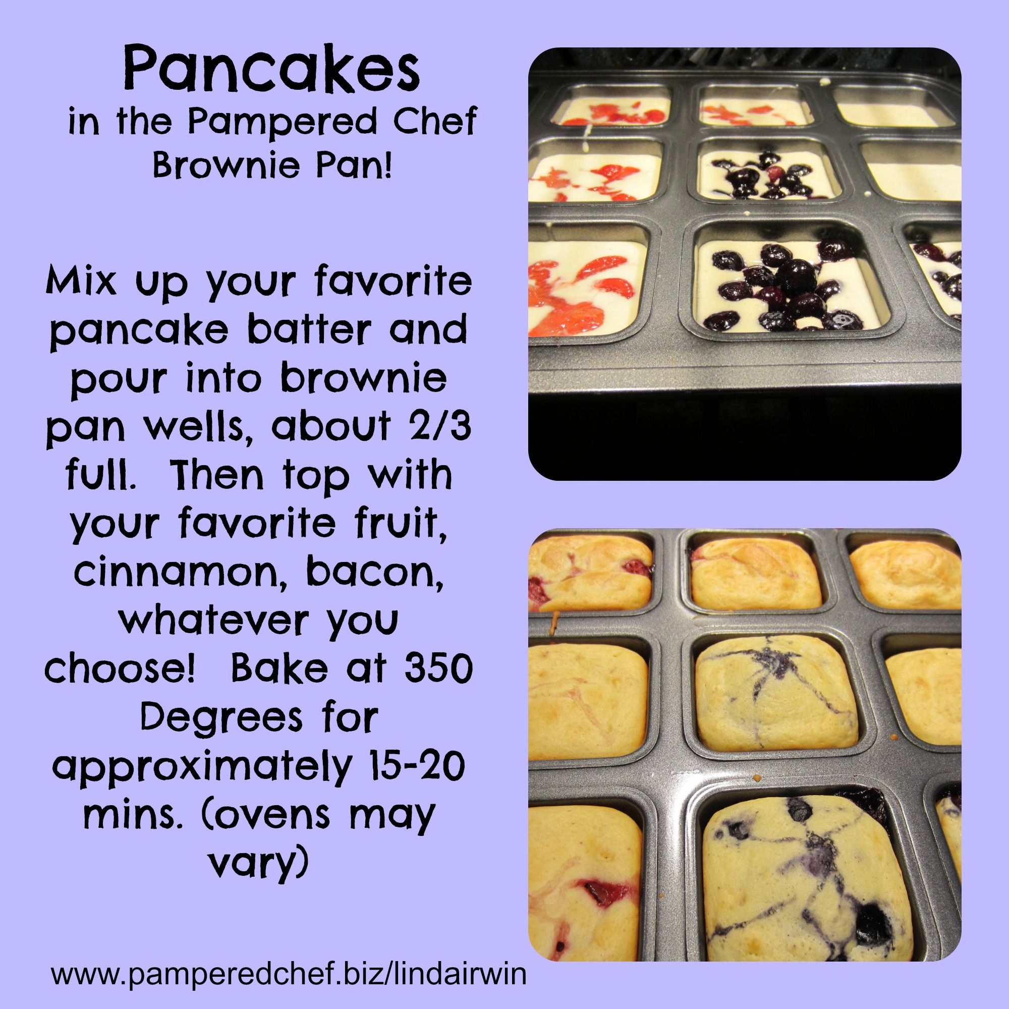 Make everyone in the family happy when you customize their pancakes! The Pampered Chef Brownie Pan www.pamperedchef.biz/jessolstad
