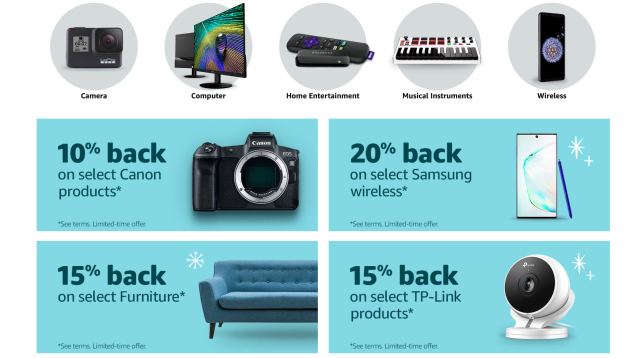 If You Have An Amazon Prime Credit Card You Can Get Up To 20 Back On Tech Purchases Credit Card Amazon Prime Samsung Products