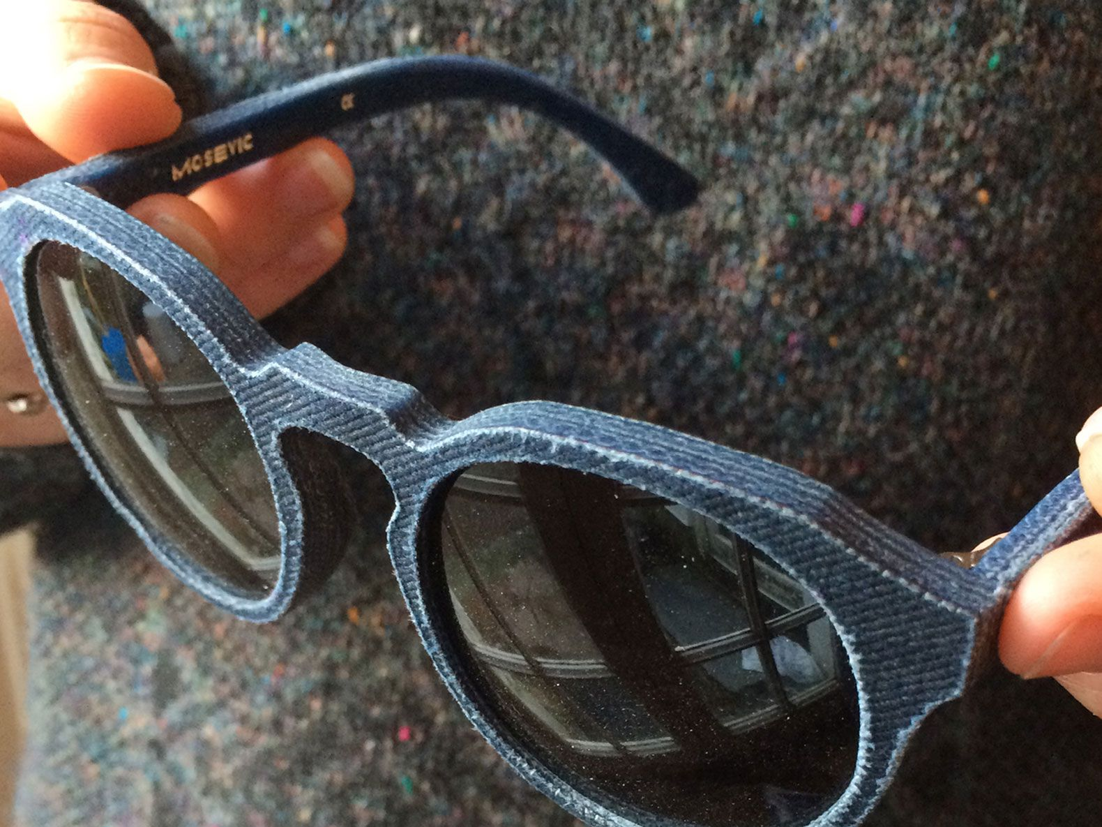 These sunglasses are made almost entirely from recycled denim jeans.
