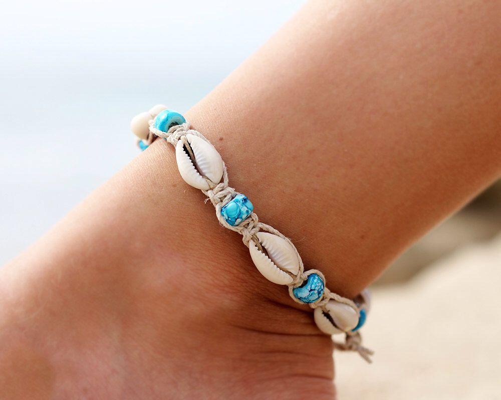 Hemp Shell Anklet Macrame Anklet Beach Anklet Flower Bead Anklet Hemp Jewelry