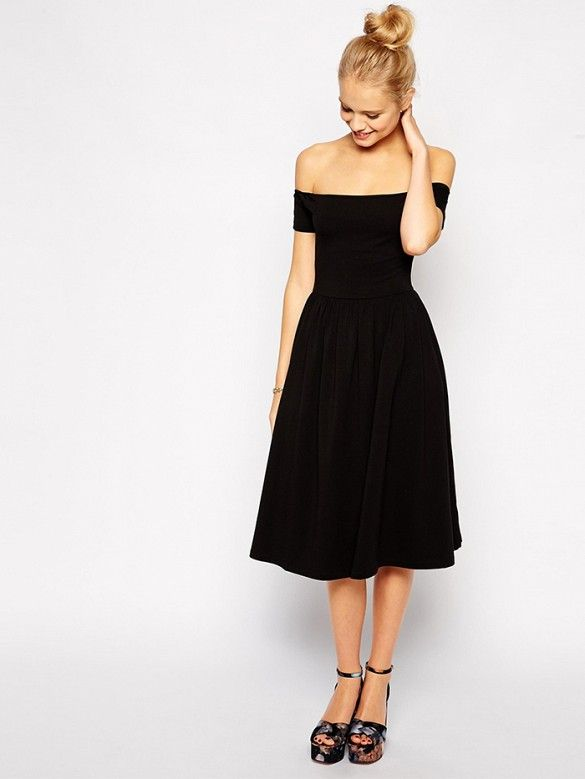 96bf351006 Try a fun fit & flare dress with off-shoulder structure for a sexy look. //  Bardot Midi Skater Dress at ASOS