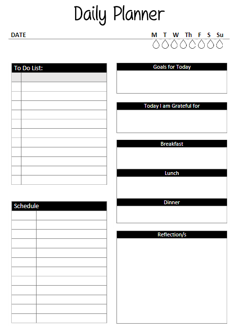 Free daily planner template info