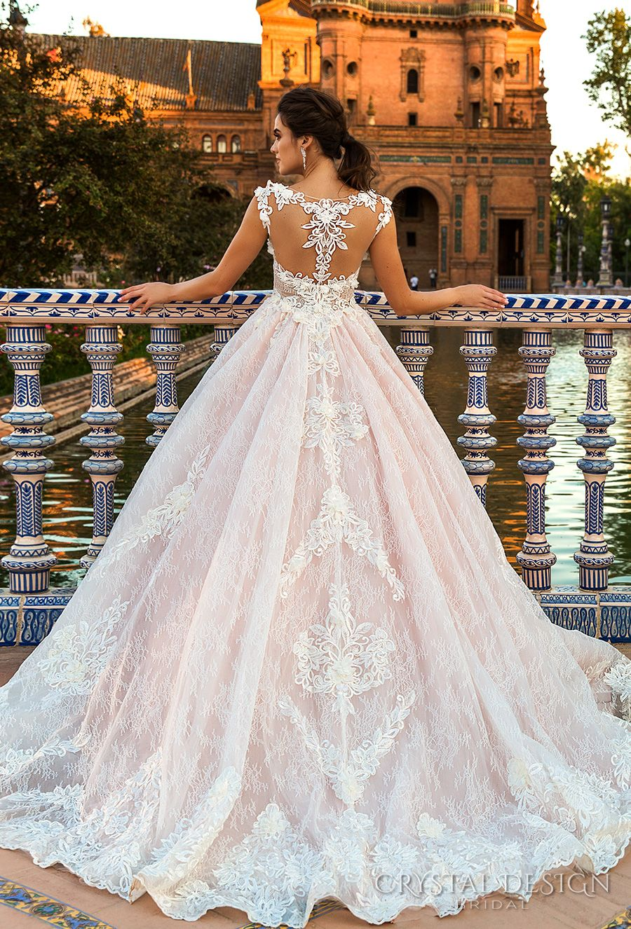 Crystal Design 2017 Bridal Sleeveless Illusion Boat Sweetheart Neckline Full Embellishment Pink Lace Princess Ball Gown A Line Wedding Dress Back
