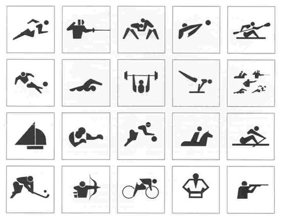 "Olympic symbols! Article on International symbol history: ""ISOTYPE"" was originally for making statistics palatable via pictures. Governments then caught on to their success to help language barriers! Interesting."